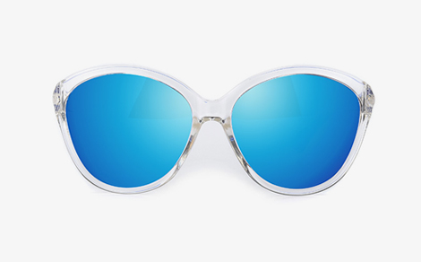 潮流女士透明框镀膜炫彩偏光太阳镜